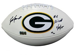 "Brett Favre Autographed/Signed Green Bay Packers Embroidered NFL Logo Football with ""4 Retired 7/18/15"" Inscription - LE of 44-0"