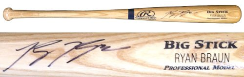 Ryan Braun Autographed/Signed Rawlings Big Stick Blonde MLB Baseball Bat-0