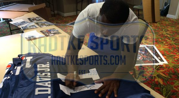 "Chris Davis, Jr Signed Auburn Tigers Framed Blue Custom Jersey with ""Kick Six"" Inscription-20659"