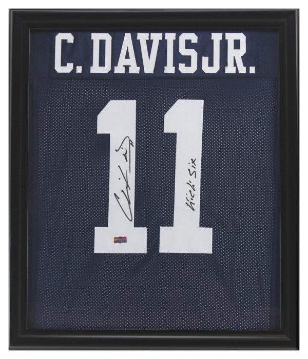 "Chris Davis, Jr Signed Auburn Tigers Framed Blue Custom Jersey with ""Kick Six"" Inscription-0"