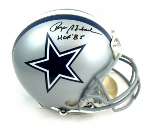 "Roger Staubach Autographed/Signed Dallas Cowboys Riddell Authentic NFL Helmet with ""HOF 85"" Inscription-0"