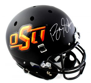 Barry Sanders Signed Oklahoma State Cowboys Schutt Full Size NCAA Black Helmet -0