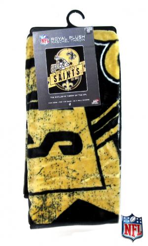 New Orleans Saints Officially Licensed NFL Raschel Throw Blanket-0