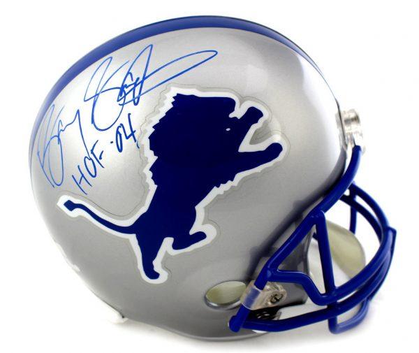 "Barry Sanders Signed Detroit Lions Throwback Riddell Full Size NFL Helmet With ""HOF 04"" Inscription -0"