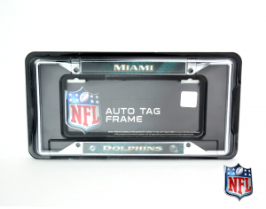 Miami Dolphins Officially Licensed NFL EZ View Chrome Tag Frame-0