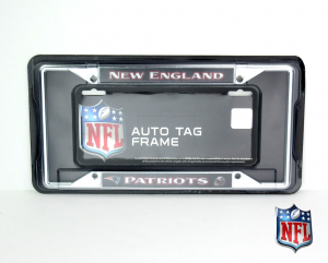 New England Patriots Officially Licensed NFL EZ View Chrome Tag Frame-0