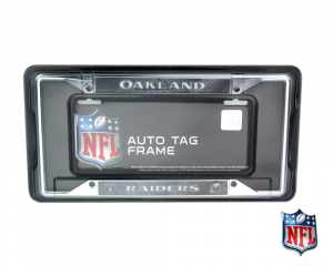 Oakland Raiders Officially Licensed NFL EZ View Chrome Tag Frame-0