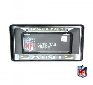 New Orleans Saints Officially Licensed NFL Laser Chrome Tag Frame-0
