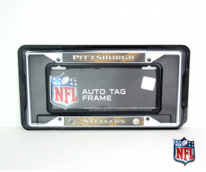 Pittsburgh Steelers Officially Licensed NFL EZ View Chrome Tag Frame-0