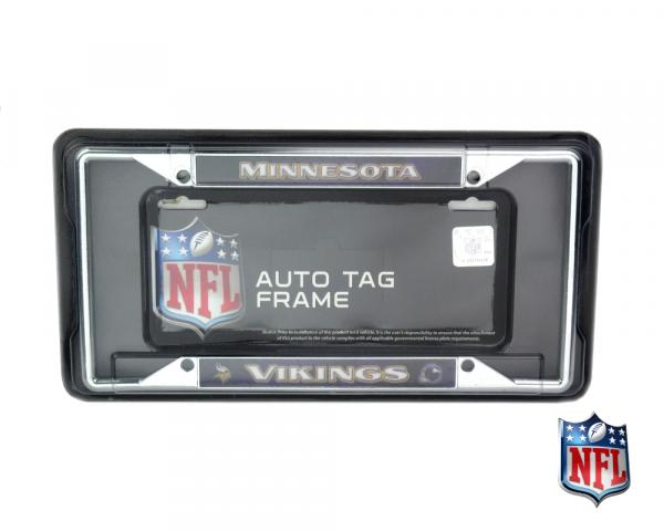 Minnesota Vikings Officially Licensed NFL EZ View Chrome Tag Frame-0