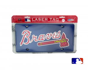 Atlanta Braves Officially Licensed MLB Mirror Laser Tag License Plate - Blue-0