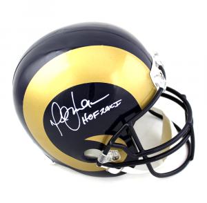 "Marshall Faulk Signed Los Angeles Rams NFL Riddell Full Size Helmet with ""HOF 20XI"" Inscription-0"