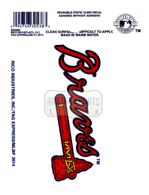 "Offically Licensed MLB Atlanta Braves Small Static Cling 3.5"" X 4.5""-0"