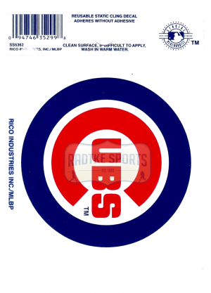 "Offically Licensed MLB Chicago Cubs Small Static Cling 3.5"" X 4.5""-0"