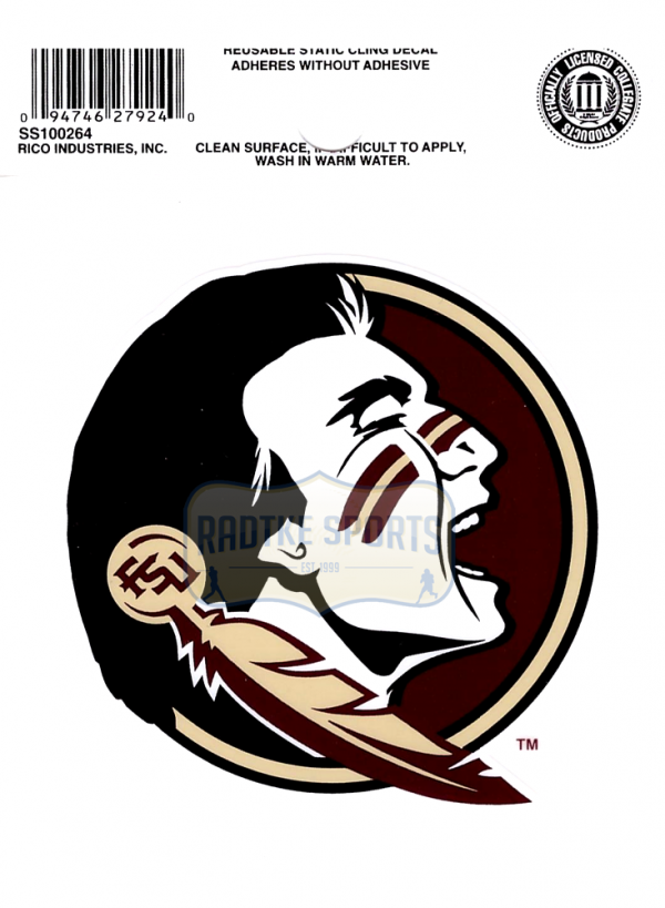 "Offically Licensed NCAA Florida State Seminoles Small Static Cling 3.5"" X 4.5""-0"