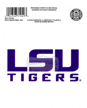 """Offically Licensed NCAA LSU Tigers Small Static Cling 3.5"""" X 4.5""""-0"""
