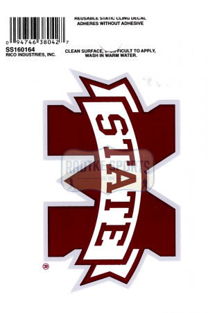 "Offically Licensed NCAA Mississippi State Bulldogs Small Static Cling 3.5"" X 4.5""-0"
