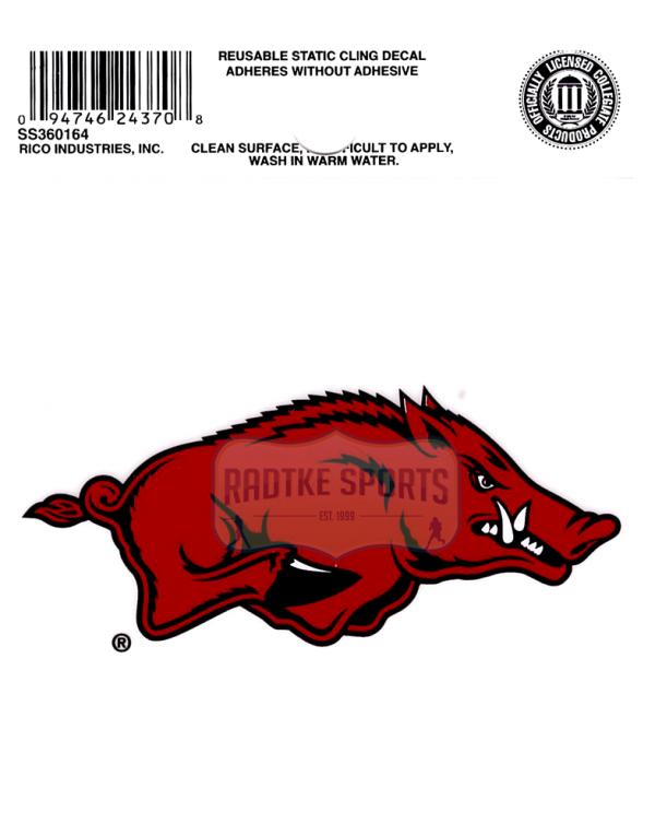"Offically Licensed NCAA Arkansas Razorbacks Small Static Cling 3.5"" X 4.5""-0"
