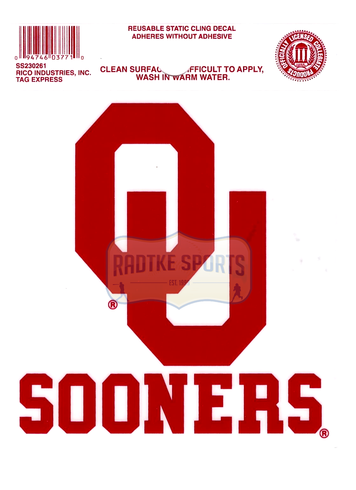 new product 94db6 4638b Offically Licensed NCAA Oklahoma Sooners Small Static Cling 3.5