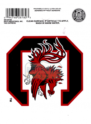 "Offically Licensed NCAA South Carolina Gamecocks Small Static Cling 3.5"" X 4.5""-0"