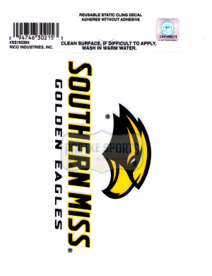 "Offically Licensed NCAA Southern Miss Golden Eagles Small Static Cling 3.5"" X 4.5""-0"