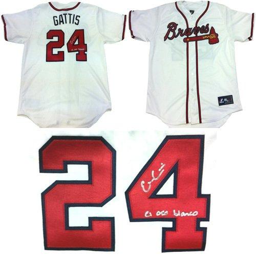 Evan Gattis Autographed/Signed Atlanta Braves White Majestic Jersey with El Oso Blanco Inscription-0