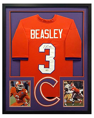 cheap for discount 8852c 8432c Vic Beasley Signed Clemson Tigers Custom Framed Orange Jersey - Cut Decal