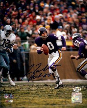 """Fran Tarkenton Autographed/Signed Minnesota Vikings 8x10 NFL Photo """"HOF 86""""-0"""