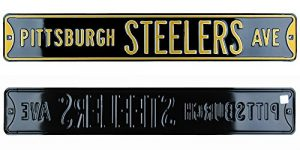 Pittsburgh Steelers Avenue Officially Licensed Authentic Steel 36x6 Black & Yellow NFL Street Sign-0