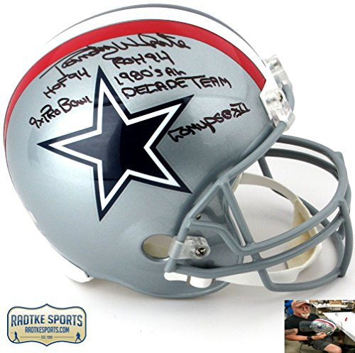 Randy White Autographed/Signed Dallas Cowboys Riddell Throwback 1976 Style Full Size NFL Helmet with Five Inscriptions-0