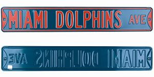 Miami Dolphins Officially Licensed Authentic Steel 36x6 Teal & Orange NFL Street Sign-0