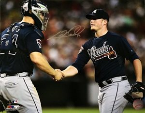 Craig Kimbrel Autographed/Signed Atlanta Braves 16X20 Record 155 Saves with Gattis-0