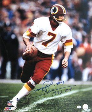 "Joe Theismann Autographed/Signed Washington Redskins Vintage Action NFL Photo with ""1983 MVP"" Inscription-0"