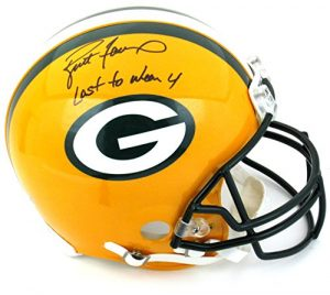 "Brett Favre Autographed/Signed Green Bay Packers Riddell Authentic NFL Helmet with ""Last to Wear 4"" Inscription - LE of 44-0"