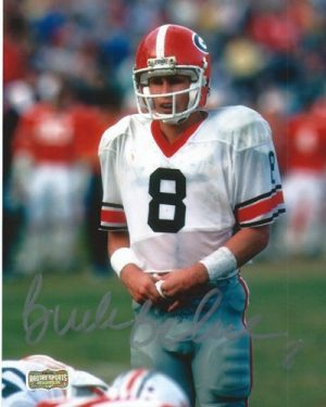 Buck Belue Autographed/Signed Vintage Georgia Bulldogs 8x10 NCAA Photo White Jersey Silver Ink-0