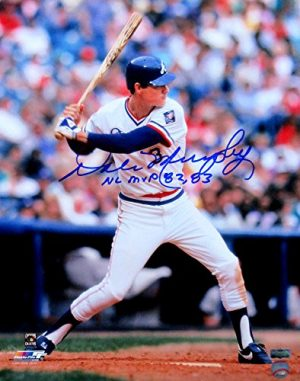 "Dale Murphy Autographed/Signed Atlanta Braves Throwback Chief Nocahoma Jersey 16x20 MLB Licensed Photo with ""NL MVP 82, 83"" Inscription-0"