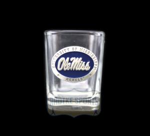 Ole Miss Rebels NCAA Square Shot Glass - Blue Enamel Emblem-0