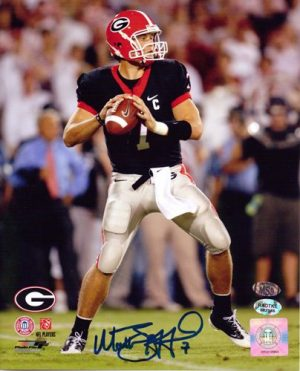 Matthew Stafford Autographed/Signed Georgia Bulldogs 8x10 NCAA Photo Black Jersey-0