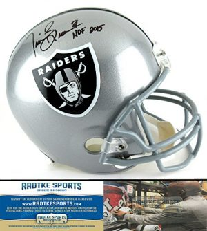 "Tim Brown Autographed/Signed Oakland Raiders Riddell Full Size NFL Helmet with ""HOF 2015"" Inscription-0"