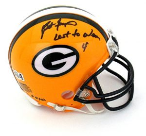 "Brett Favre Autographed/Signed Green Bay Packers Riddell NFL Mini Helmet with ""Last to Wear 4"" Inscription - LE of 44-0"