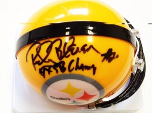 Rocky Bleier Autographed/Signed Pittsburgh Steelers Throwback Yellow Mini Helmet with4x SB Champs&quot Inscription-0