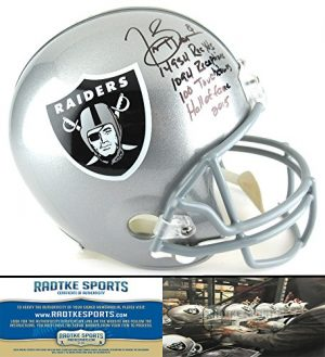 Tim Brown Autographed/Signed Oakland Raiders Riddell Full Size NFL Helmet with Career Stats Inscription-0