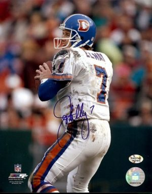 John Elway Autographed Broncos 8x10 Photo White Jersey-0