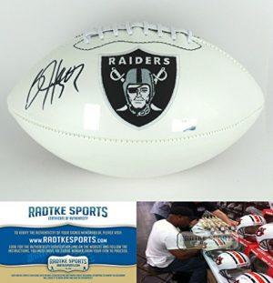 Bo Jackson Autographed/Signed Oakland Raiders White NFL Logo Football-0