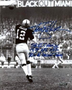 Ken Stabler Autographed/Signed Oakland Raiders 8x10 NFL Photo with Career Stats Inscription Limited Edition of 12-0