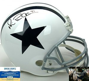 Michael Irvin Autographed/Signed Dallas Cowboys Riddell Throwback Full Size NFL Helmet with quotPlaymakerquot Inscription-0