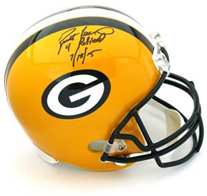 "Brett Favre Autographed/Signed Green Bay Packers Riddell Full Size NFL Helmet with ""4 Retired 7/18/15"" Inscription - LE of 44-0"