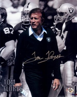 """Tom Flores Autographed/Signed Oakland Raiders 8x10 NFL Photo """"Walking""""-0"""