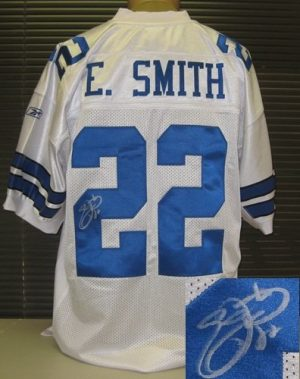 Emmitt Smith Autographed White Cowboys Reebok Jersey-0