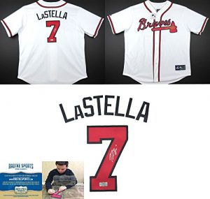 Tommy La Stella Autographed/Signed Atlanta Braves Majestic White Home MLB Jersey-0